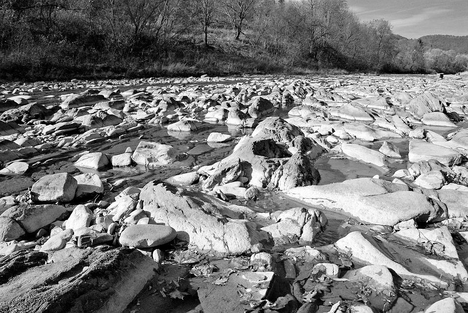 River, The Stones, Bieszczady, Landscape, Nature