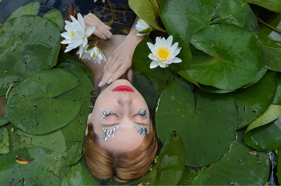 Portrait, Rhinestones, Tinsel, Makeup, River, Pond