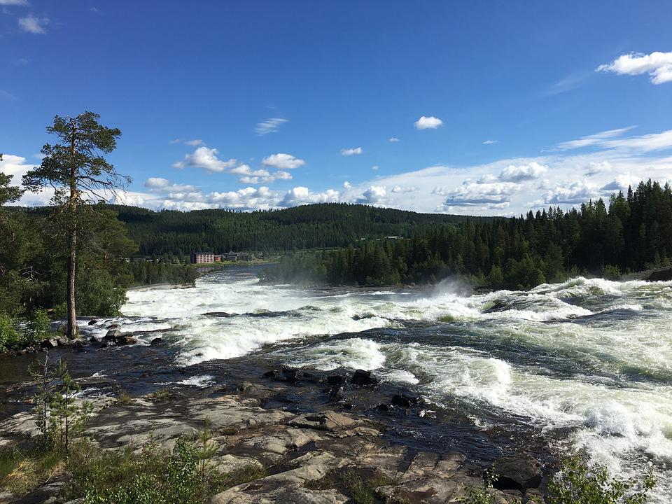 Waterfall, Sweden, Nature, River, Water, Tree, Rock