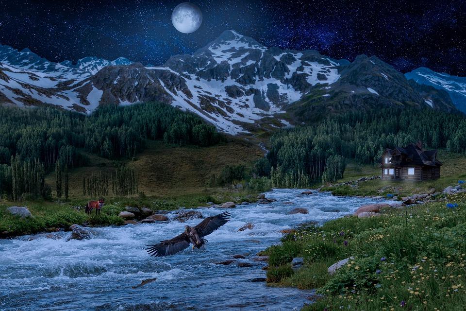 Fantasy, Landscape, Mountains, Trees, Stream, River