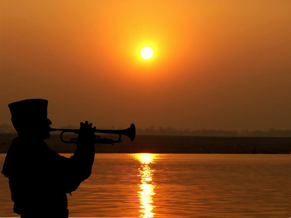 Layer Of The Sun, River, Trumpeter, Twilight, Water
