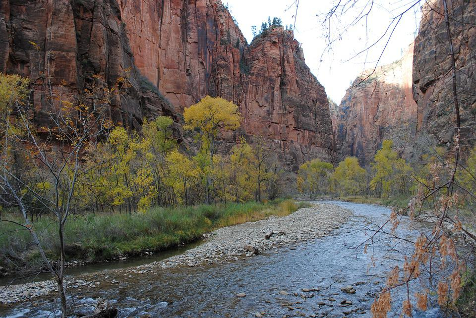 St George, Zion, National Park, Utah, River, Fall