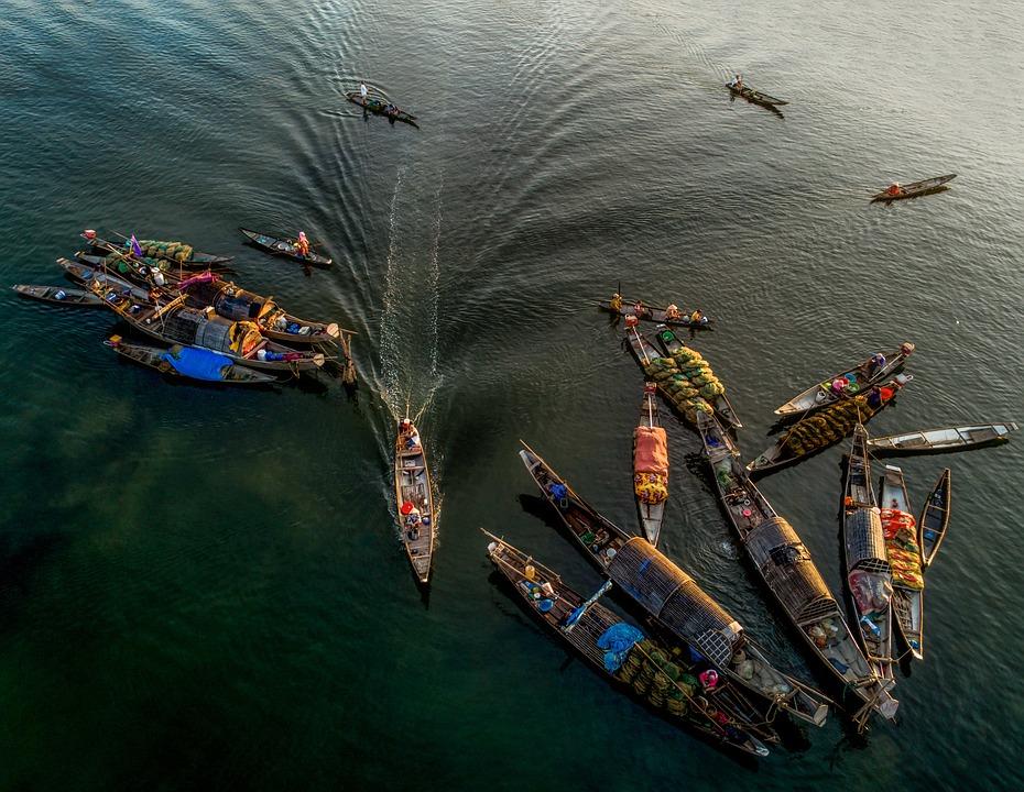 Boats, Market, Fisherman, River, Vietnam, Water