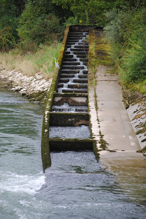 Fish Ladder, Fish Pass, River, Power Plant, Villnachern