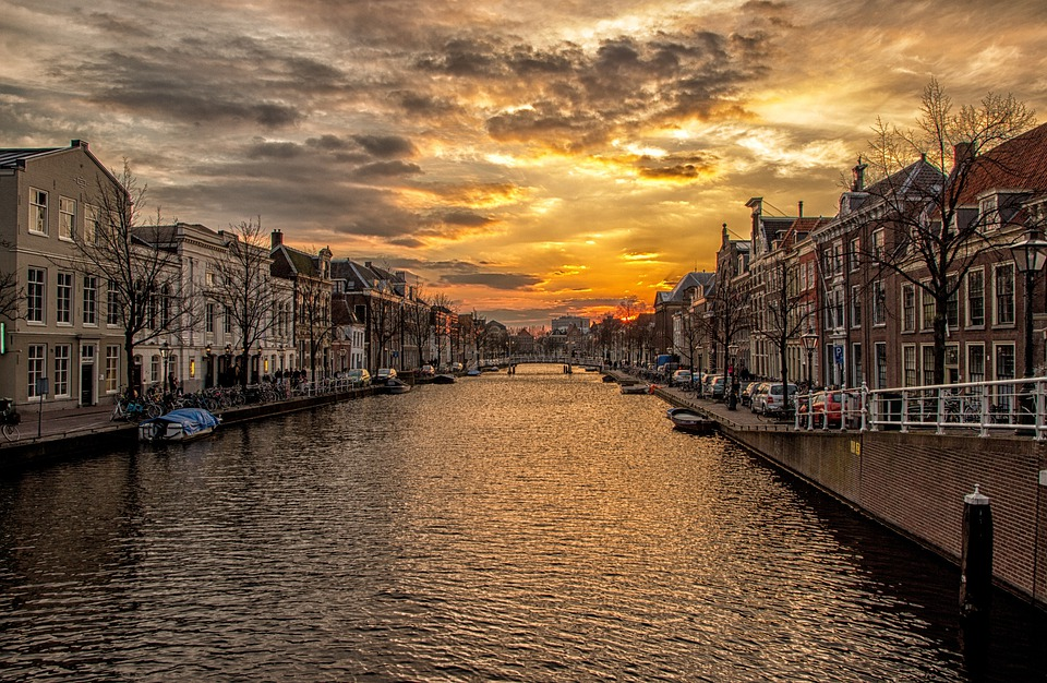 Waterway, Channel, Holland, Homes, Sunset, Water, River