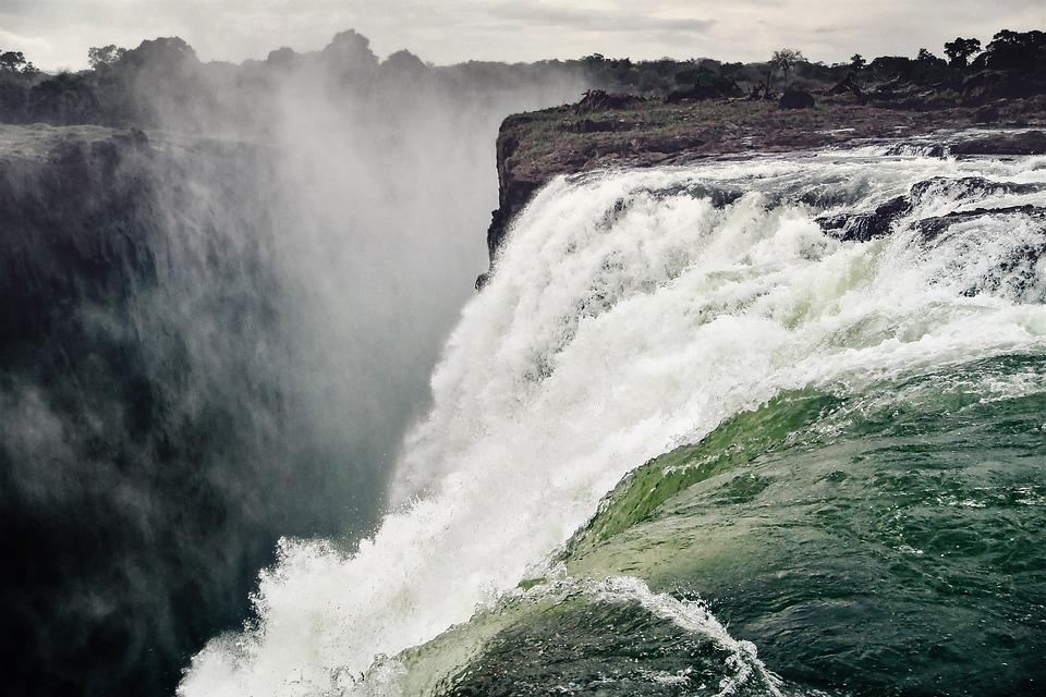 Waterfall, Victoria Falls, Spray, Zambezi, River