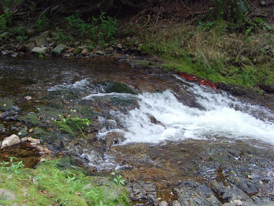 River, Waterfall, Stones