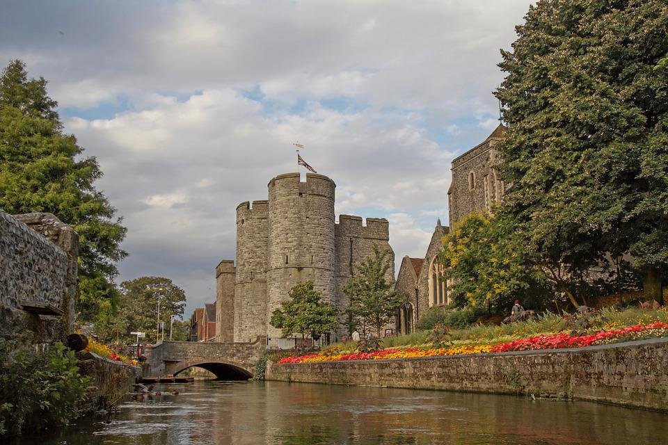 West Gate, City Gate, Canterbury, Stour, River, Flowers
