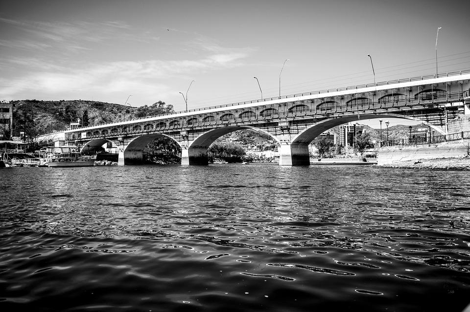 Bridge, White, Water, Landscape, Sunset, River, Arc