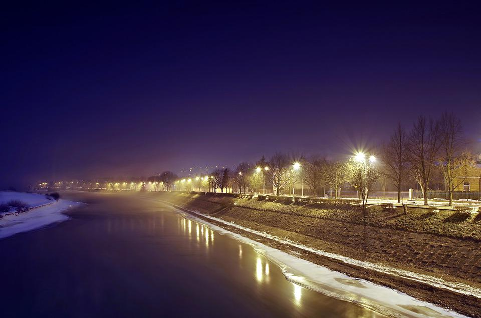 River, Winter, Night, Think, Ice, Cold, Snow, Poland