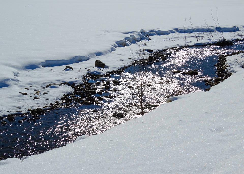 River, Bach, Water, Mirroring, Winter, Landscape, Snow
