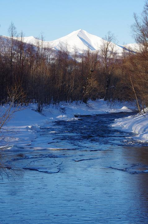 Volcanoes, Mountains, River, Forest, Winter, Snow