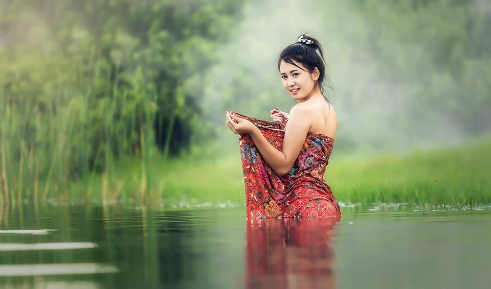 Woman, Washing, Vietnam, Asia, Young, Beauliful, River