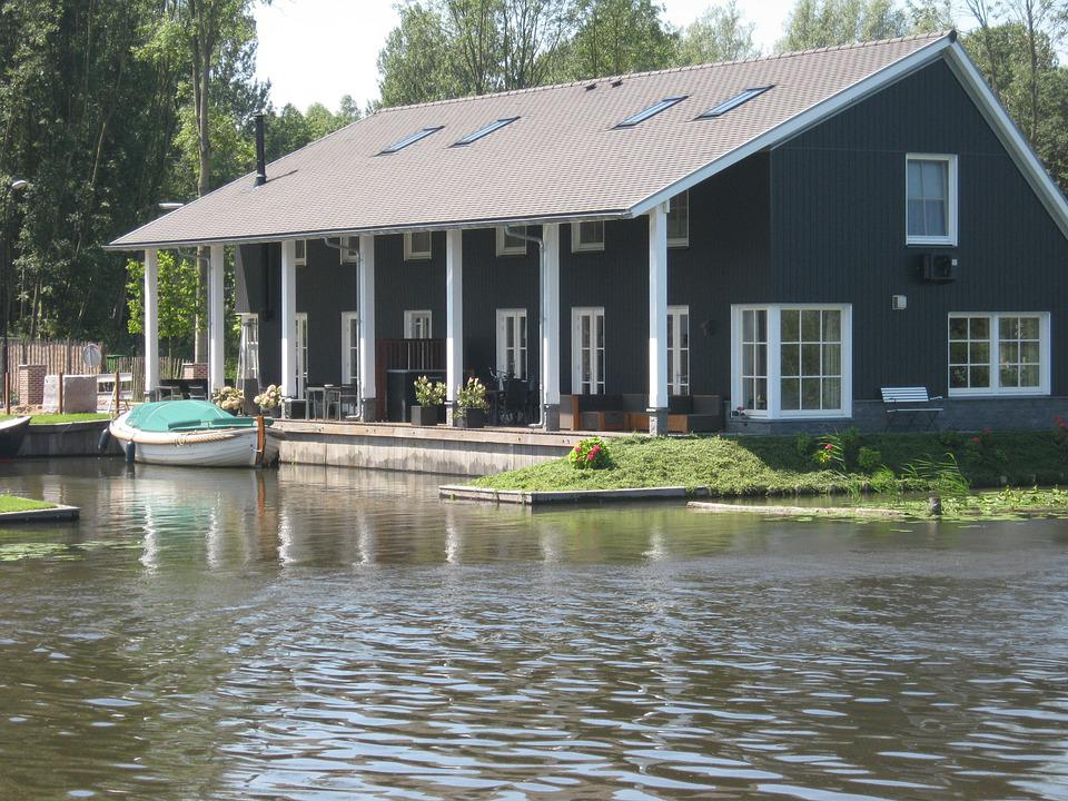 House, Water, Terrace, River, Wood