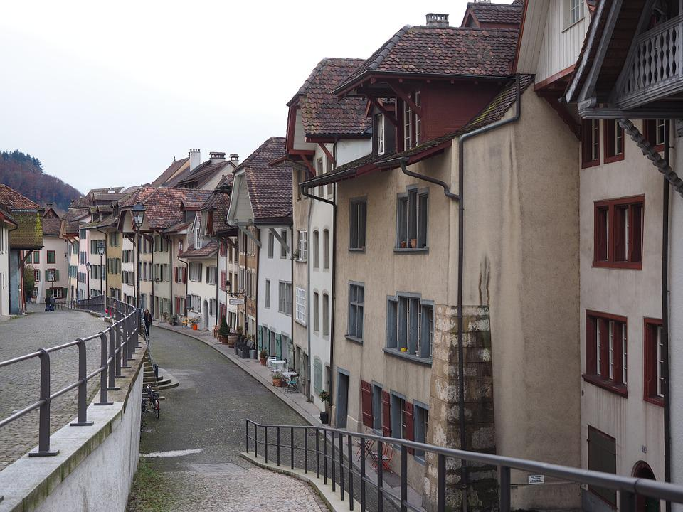 Aarau, City, Road, Architecture, Building, Alley