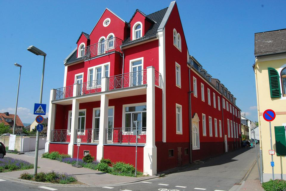 Home, Red, Architecture, Road, Geisenheim