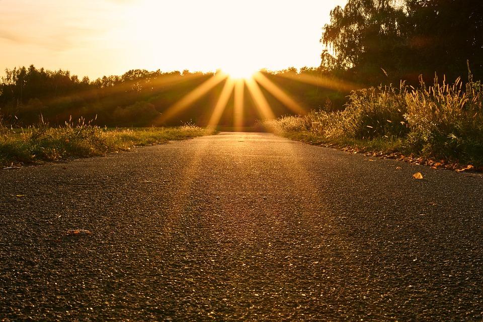 Sun, Backlighting, Sunset, Dazzling Star, Road, Asphalt