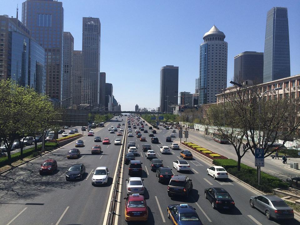 China, Beijing, City, Road, Automotive, Traffic