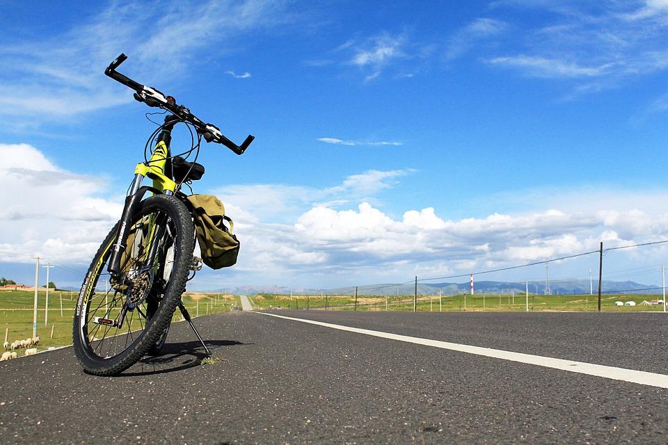 Blue Sky, Riding, Highway, Bike, Road, Travel