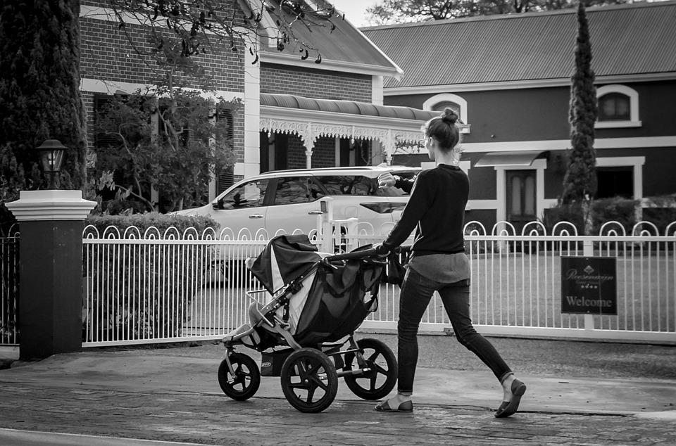 Black White, Baby Carriage, Road, Mother, Slide, Hurry