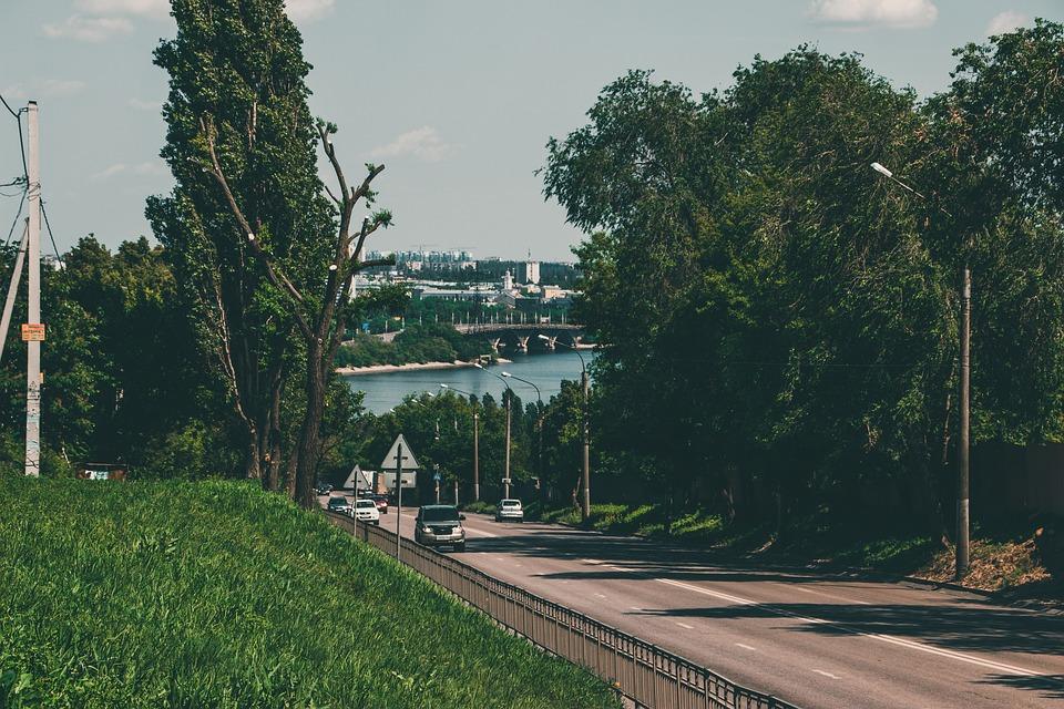 Bridge, Road, Street, Cars, Vehicles, Trees, Grass