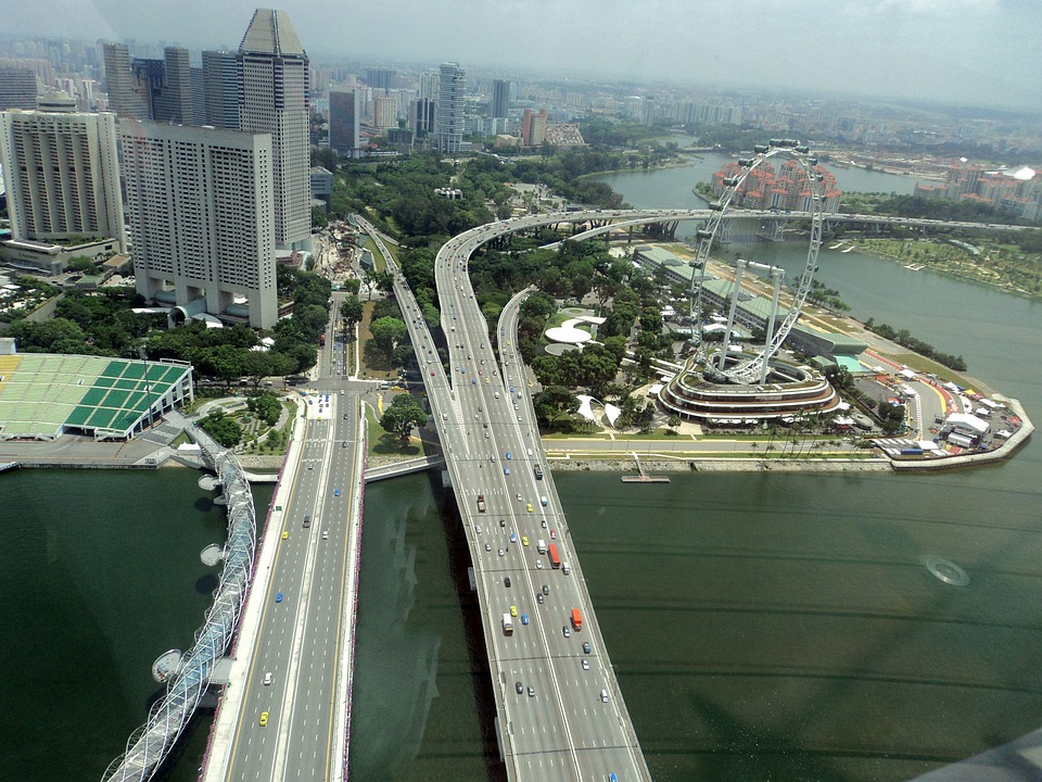 Singapore, Travel, Road, Bridge, Architecture