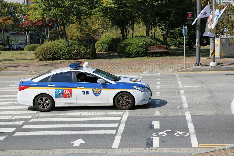 Police, Road, Car, Republic Of Korea
