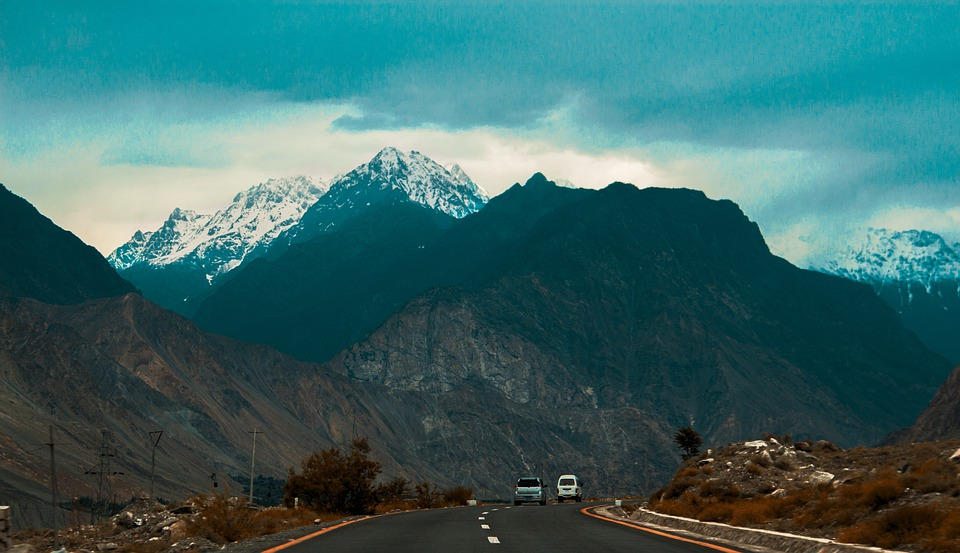 Road, Cars, Sky, Clouds, Mountain, Plants, Nature