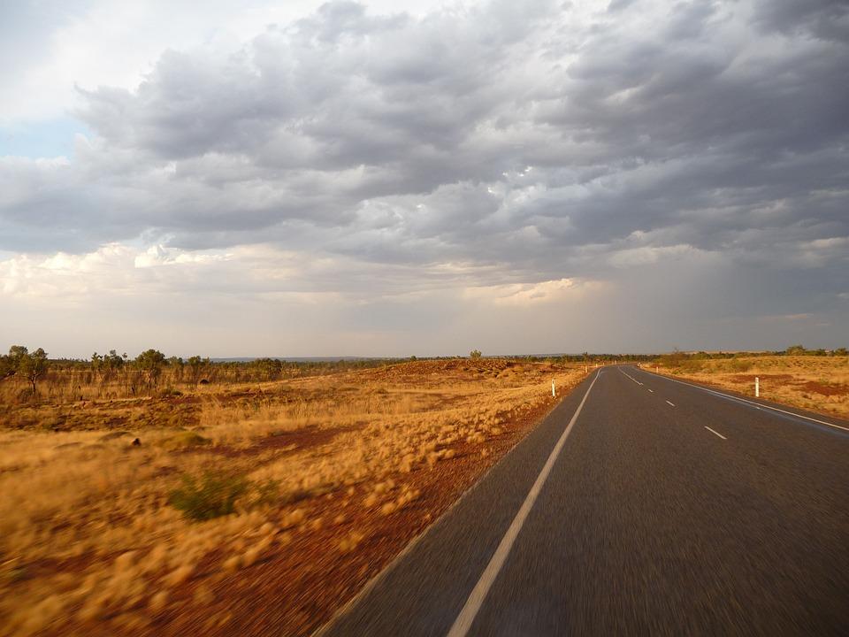 Road, Australia, Clouds