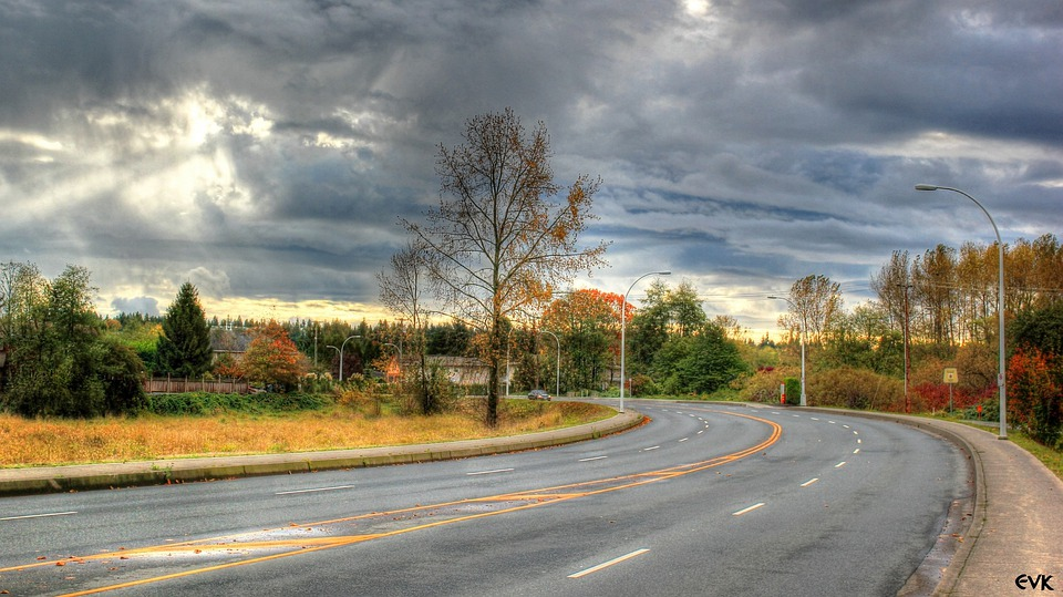 Langley, Streets, Direction, Road, Sky, Clouds