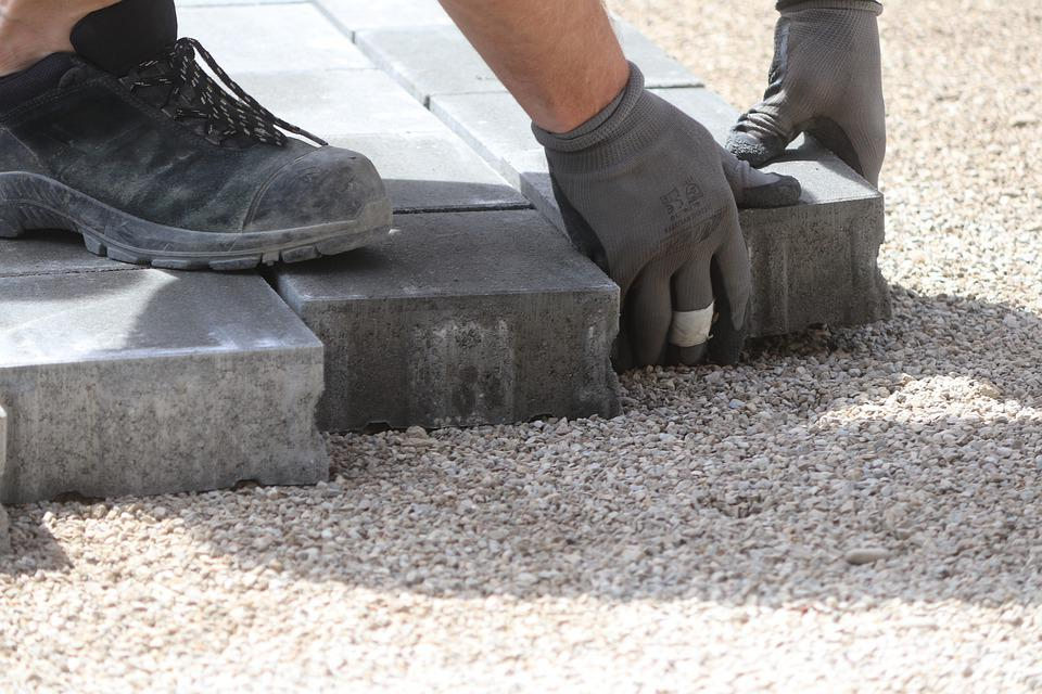 Pave, Composite Stones, Hand, Work, Safety Shoes, Road