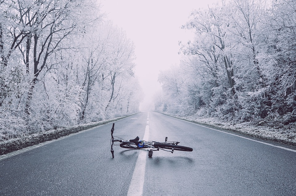 Bicycle, Bike, Haze, Perspective, Road, Snow, Trees