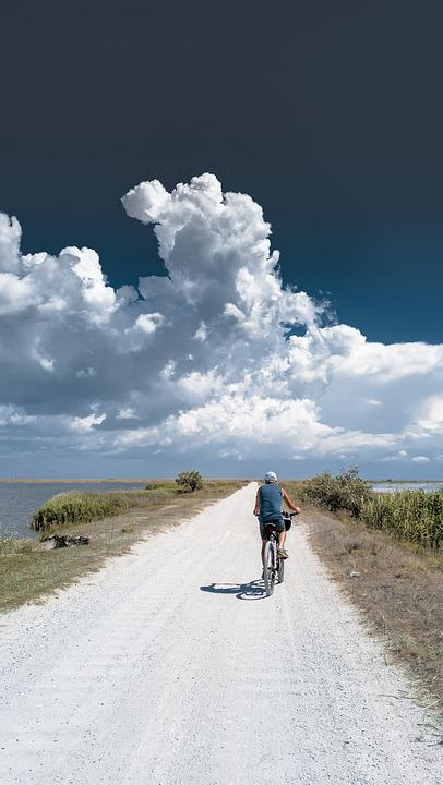 Road, Clouds, Horizon, Dam, Bike, Cyclist, Blue