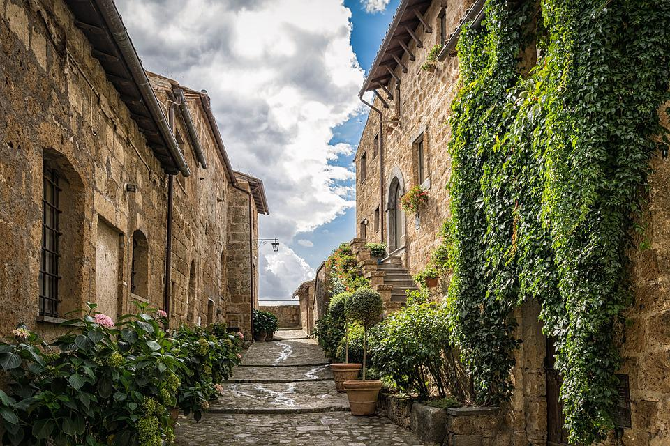 Alley, Road, Middle Ages, Ivy, Mediterranean, Still