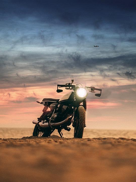 Motorbike, Motorcycle, Sunset, Road, Landscape, Girl