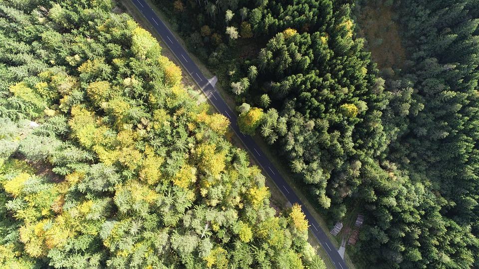 Luftbildaufnahme, Drone, Road, Quadrocopter, Flying