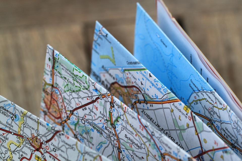 folding map road map travel route auto map atlas