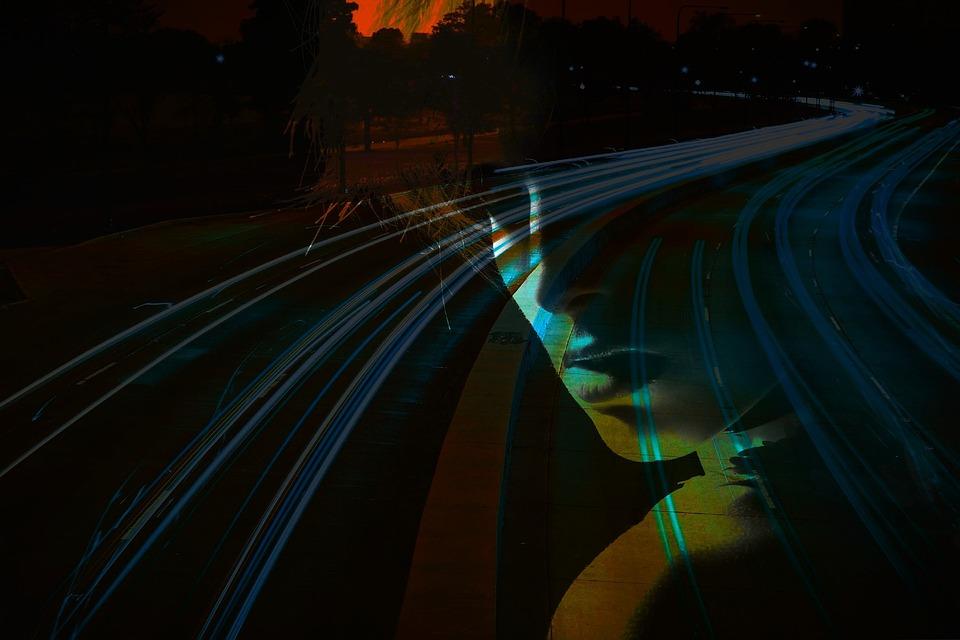 Transportation System, Illuminated, Blur, Motion, Road