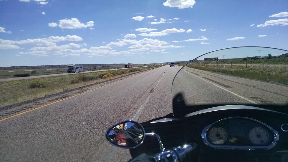 Biker, Flat, Motorcycle, Moving, Riding, Road, Trip