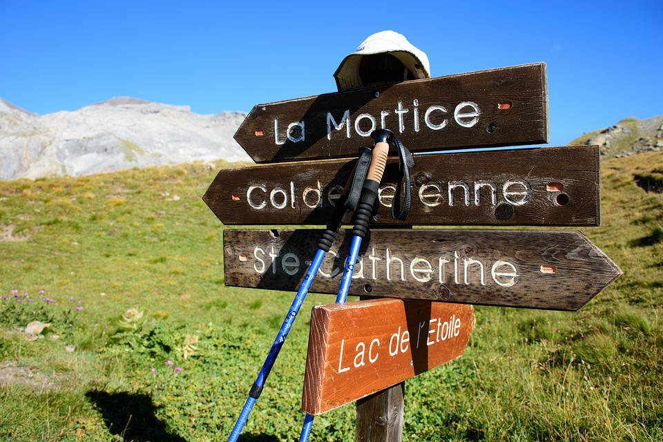 Hiking, Stick, Mountain, Road, Direction, Signpost, Sky