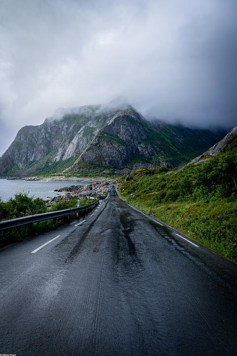 Road, Highway, Sea, Mountains, Coast, Shore, Clouds