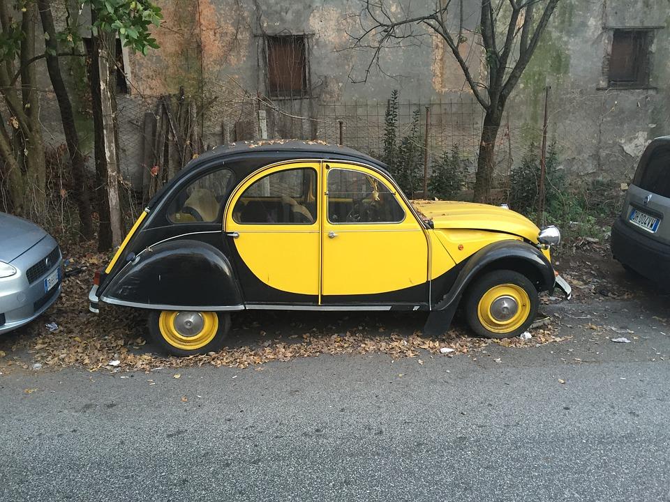 Machine, Yellow, Nero, Road, Parking