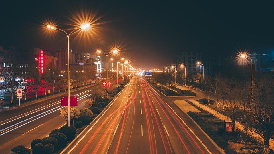 Road, Night, Light, Train Track