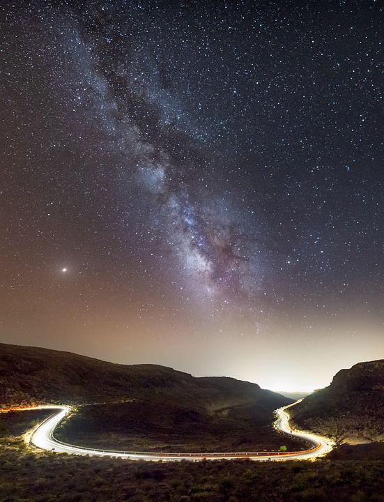 Road, Night, Star, Milky Way, Light, Away, Astro