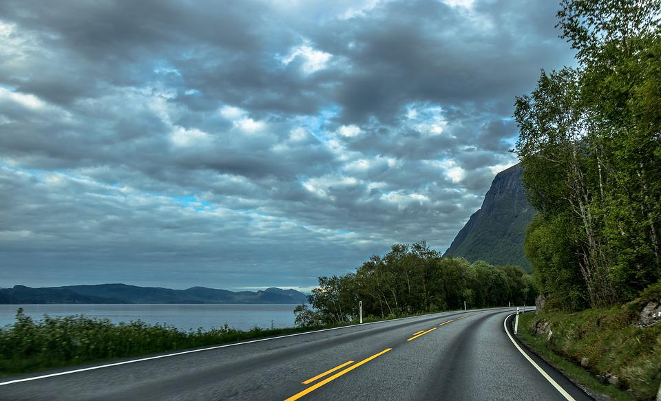 Norway, Way, Landscape, Road, Nature, Sky, Clouds, Snow
