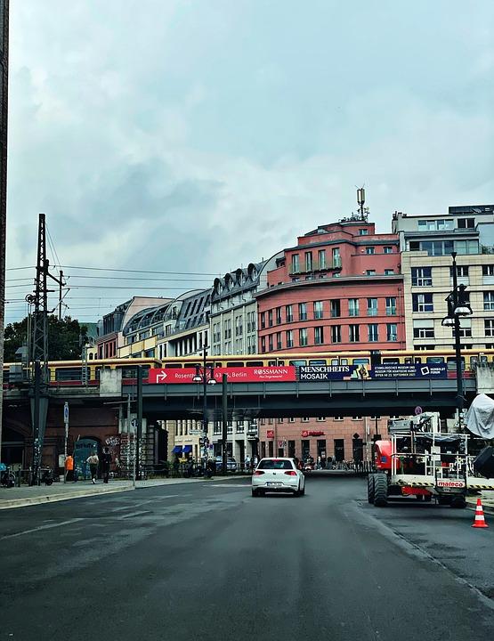Berlin, Germany, Train, Bvg, Road, Bridge, Railway