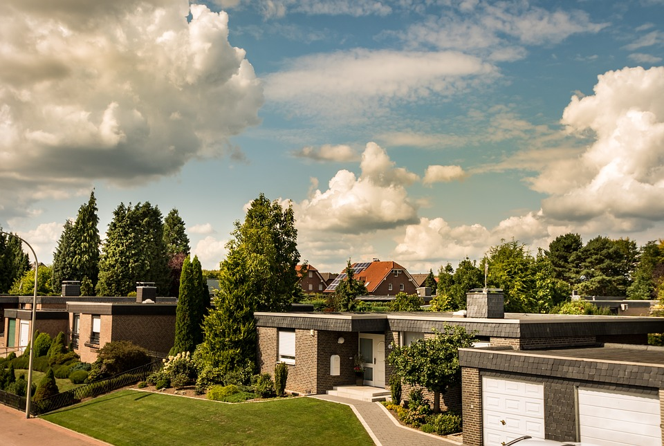Clouds, Residential Development, Road, Village