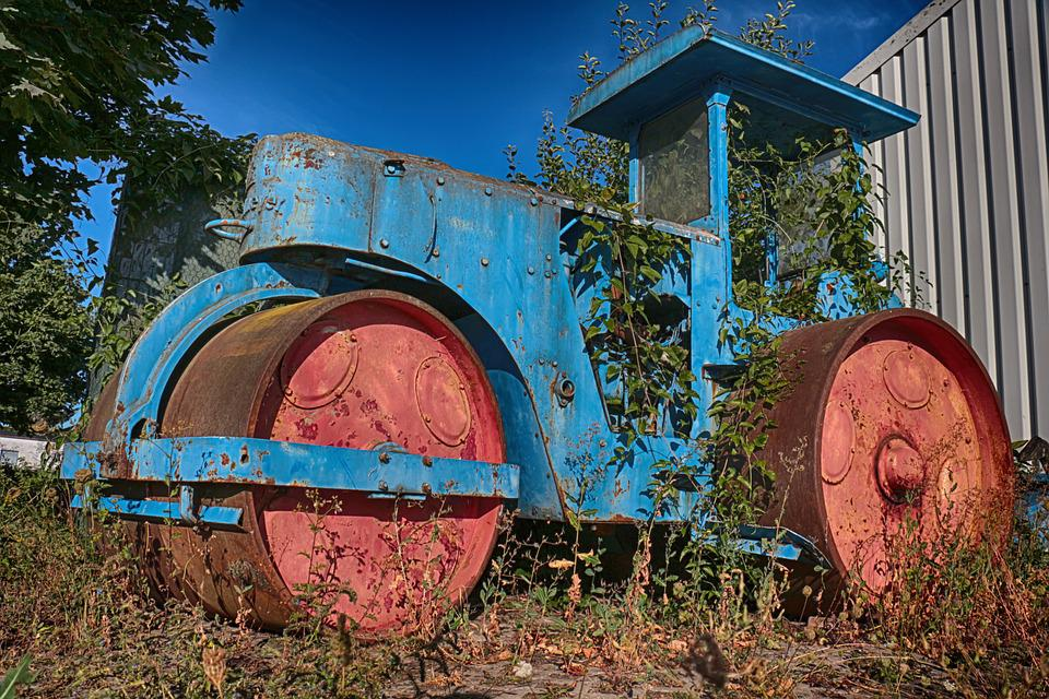 Road Roller, Old, Ailing, Rusty, Metal, Weathered
