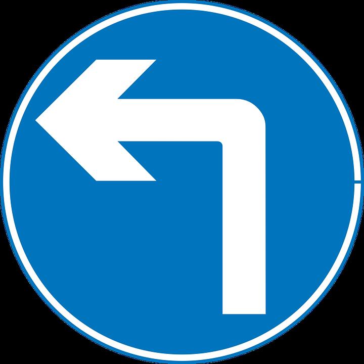 Turn Left, Road Sign, Left, Turn, Road, Sign, Traffic
