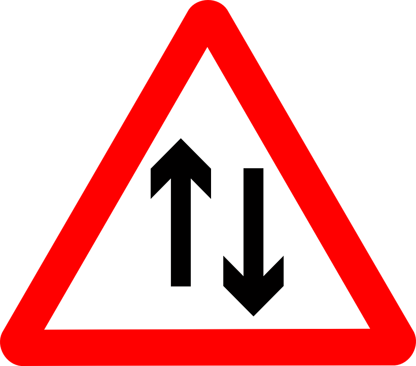 Sign, Traffic, Two, Way, Ahead, Road, Transportation